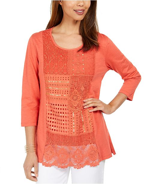 JM Collection Cotton Crochet Patchwork Top, Created For Macy's