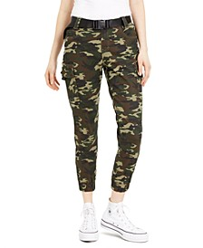 Juniors' Printed Seat-Belt Cargo Jogger Pants