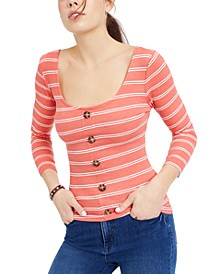Juniors' Buttoned Cross-Back Top