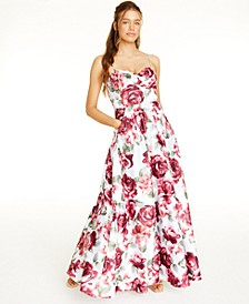 Juniors' Allover-Floral Gown