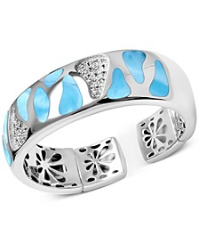 Larimar & White Sapphire (5/8 ct. t.w.) Wide Cuff Bracelet in Sterling Silver