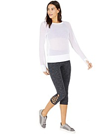 Mesh Top & Cropped Cutout Leggings, Created for Macy's