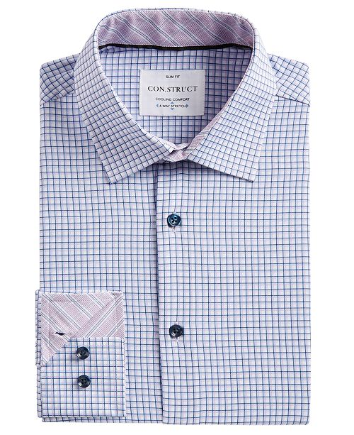 ConStruct Men's Slim-Fit Check-Print Performance Stretch Cooling Comfort Dress Shirt