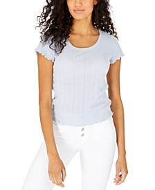 Juniors' Pointelle Ruffle-Trim T-Shirt