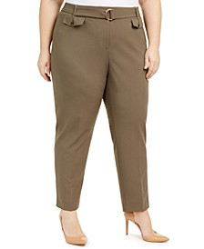 Plus Size D-Ring Belted Pants