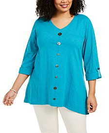 Plus Size Button V-Neck Top, Created for Macy's