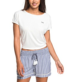 Juniors' Bold Blooms Striped Shorts