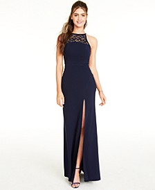 Juniors' Lace-Trim Halter Dress