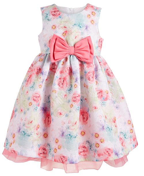 Bonnie Baby Baby Girls Watercolor Floral-Print Dress
