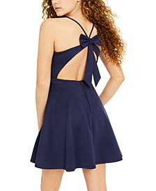 Juniors' Bow-Back Scuba Fit & Flare Dress