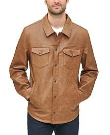 Men's Faux Leather Shirt Jacket