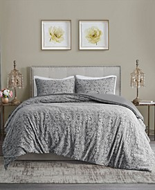 Chantelle Full/Queen 3 Piece Damask Matelasse Cotton Duvet Cover Set