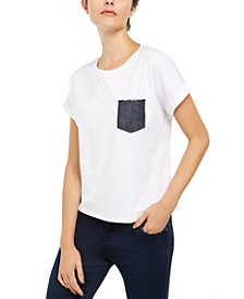 INC Cotton Denim-Pocket Top, Created for Macy's