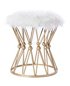 Round Gold-Tone Metal Stool with Fur Top