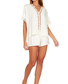 Womens Showstopper Charmeuse Lace Pajama