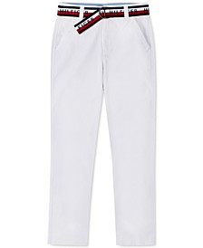 Big Boys David Stretch White Pants with D-Ring Logo Belt