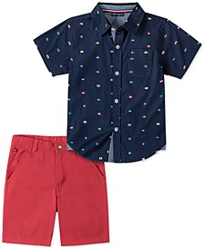Baby Boys 2-Pc. Printed Shirt & Solid Shorts Set