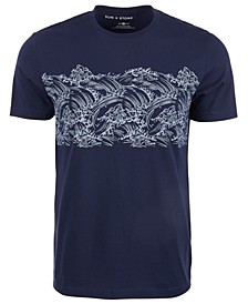 Men's Wave Stripe Pattern T-Shirt, Created for Macy's