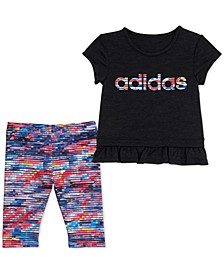 Toddler Girls 2-Pc. Aeroready Ruffle-Trim T-Shirt & Printed Tights Set