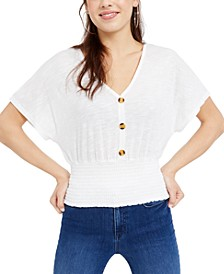 Juniors' Button-Front Smocked Top