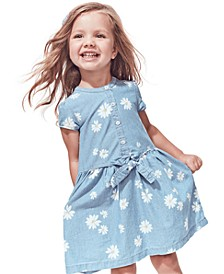Toddler Girls Cotton Daisy Bow-Front Chambray Shirtdress