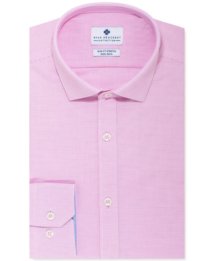 Ryan Seacrest Distinction - Men's Ultimate Slim-Fit Non-Iron Performance Stretch Pink Nailhead Dress Shirt