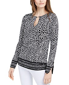 Animal-Print Keyhole Top, Regular & Petite