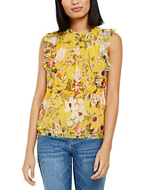 INC Printed Ruffled Sleeveless Top, Created for Macy's