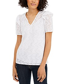 Lace Puffed-Sleeve Top