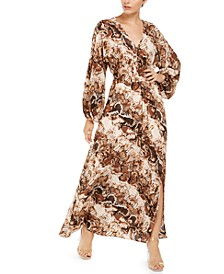 INC Printed Blouson-Sleeve Maxi Dress, Created for Macy's