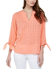 Cotton Tie-Sleeve Gauze Top, Regular & Petite