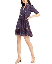 Split-Neck Silk Babydoll Dress