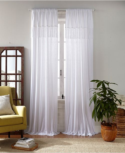 "Elrene Calypso Macramé Tassel Semi Sheer Window Curtain, 52""x84"""