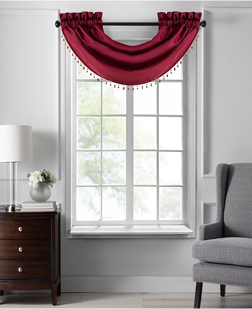 """Elrene Colette Faux Silk 42"""" x 22"""" Beaded Waterfall Valance"""