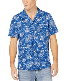 Men's Blue Sail Collection Tropical Print Short Sleeve Shirt, Created for Macy's