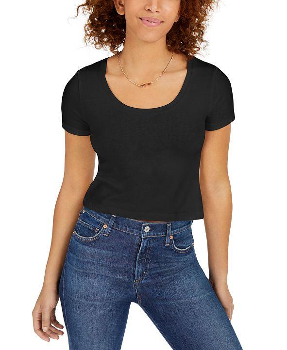 Planet Gold Juniors' Cropped Scoop-Neckline T-Shirt