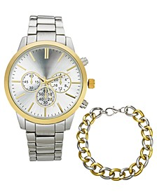 INC Men's Two-Tone Bracelet Watch 42mm Gift Set - Created for Macy's