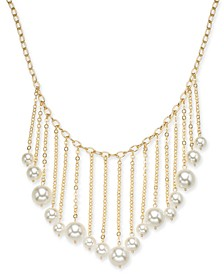 "Gold-Tone Imitation Pearl Fringe Statement Necklace, 17"" + 3"" extender, Created for Macy's"