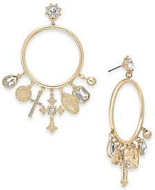 Gold-Tone Crystal Cross Charm Drop Hoop Earrings, Created for Macy's