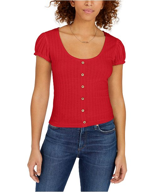 Planet Gold Juniors' Puff-Sleeved Button-Trimmed Top