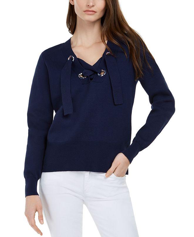 Michael Kors Cotton Lace-Up Sweater, Regular & Petite Sizes