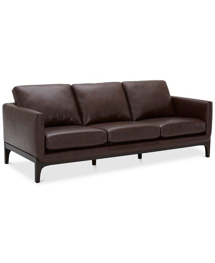"Furniture - Yazlan 89"" Leather Sofa"