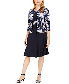 Petite Floral-Print Jacket & Ruched-Waist Dress