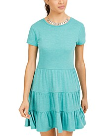 Juniors' Heathered Tiered T-Shirt Dress