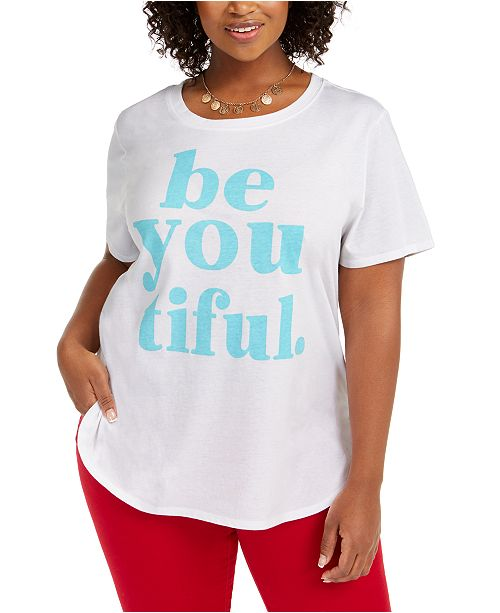 Love Tribe Hybrid Trend Plus Size Be You Tiful T-Shirt, Created For Macy's