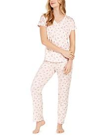 Floral-Print Knit Pajama Set