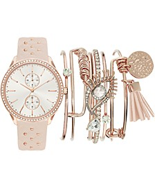 Women's Beaded Blush Faux Leather Strap Watch 38mm Gift Set
