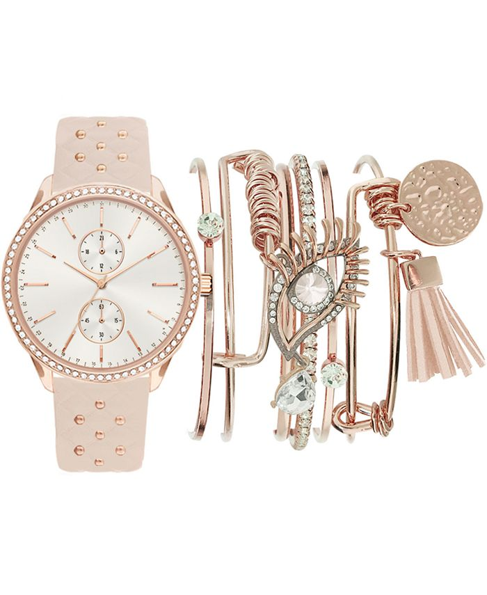 Jessica Carlyle - Women's Beaded Blush Faux Leather Strap Watch 38mm Gift Set