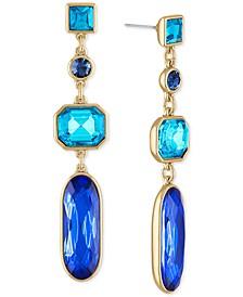 Gold-Tone Multi-Crystal Linear Drop Earrings