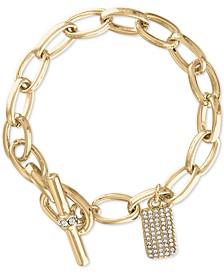 Gold-Tone Pavé Charm Link Bracelet